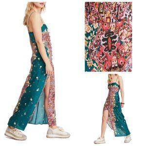 Free People Dresses - 🎉HP🎉NWT-Morning Song Maxi Slip Dress(Jade Combo)